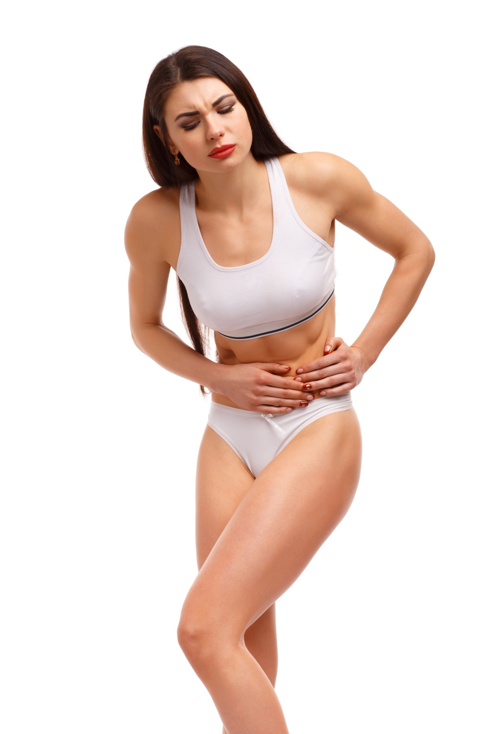 Sport woman having abdominal pain